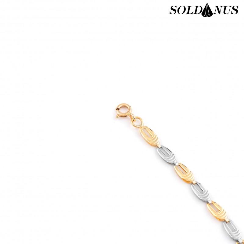 Zlatý náramok dvojfarebný 21cm