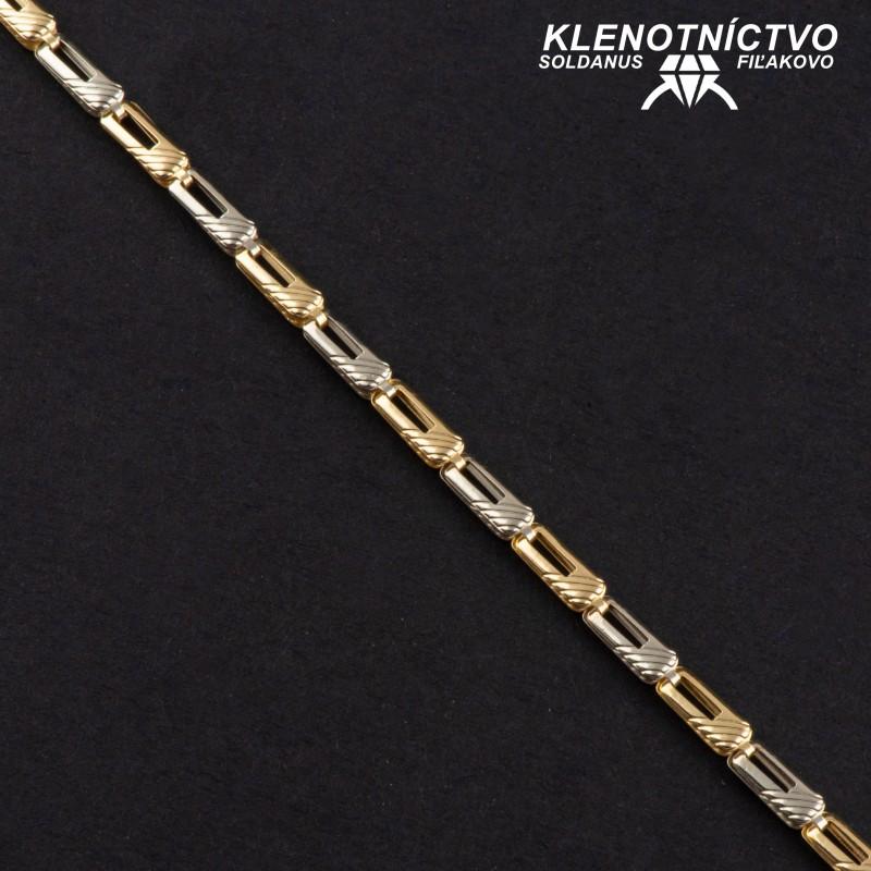 Zlatý náramok dvojfarebný 220mm