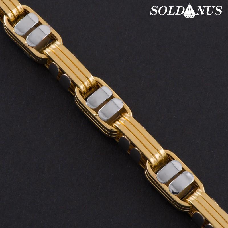 Zlatý náramok 230mm pánsky s bielym zlatom