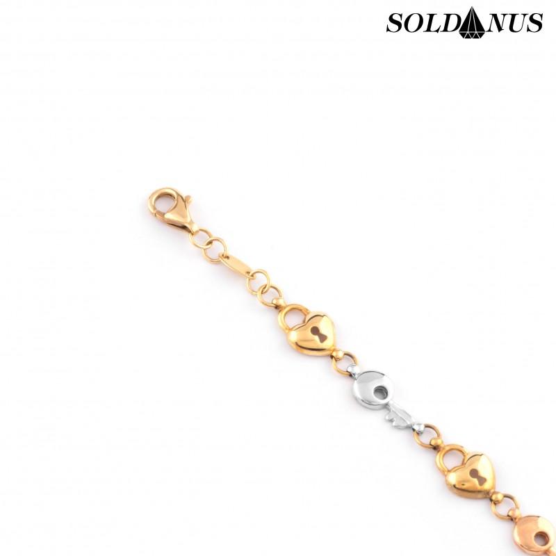 Zlatý náramok dámsky trojfarebný 17+2cm