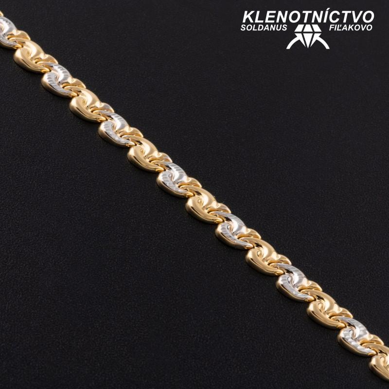Zlatý náramok dvojfarebný 190mm