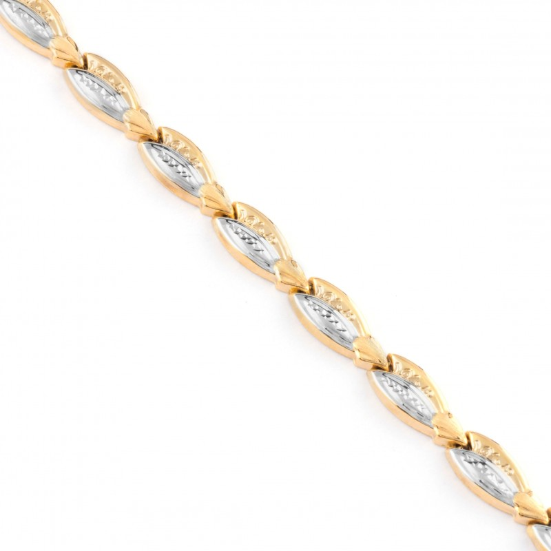 Zlatý náramok dámsky dvojfarebný 19cm