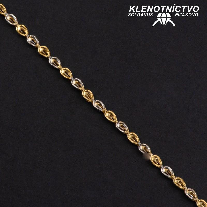 Zlatý náramok drojfarebný 180mm