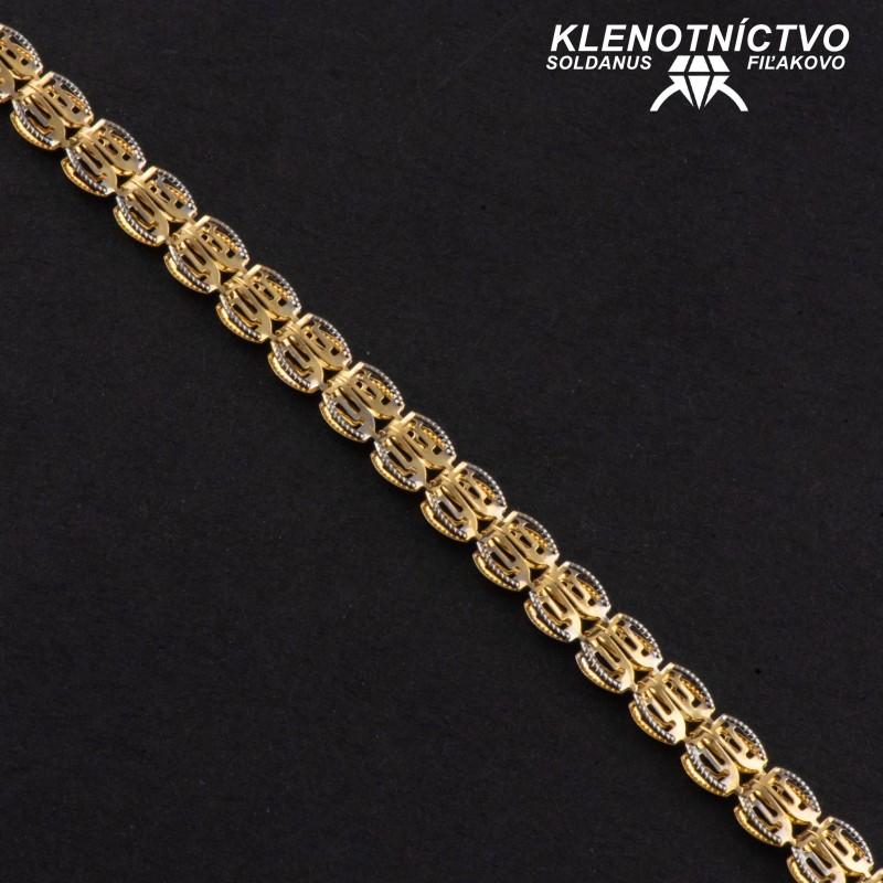 Zlatý náramok dvojfarebný 180mm