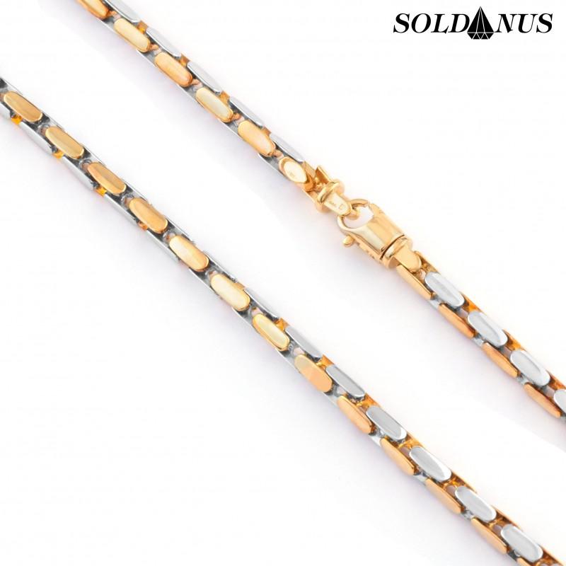 Zlatá retiazka dvojfarebná 60cm, Hrúbka: 4mm
