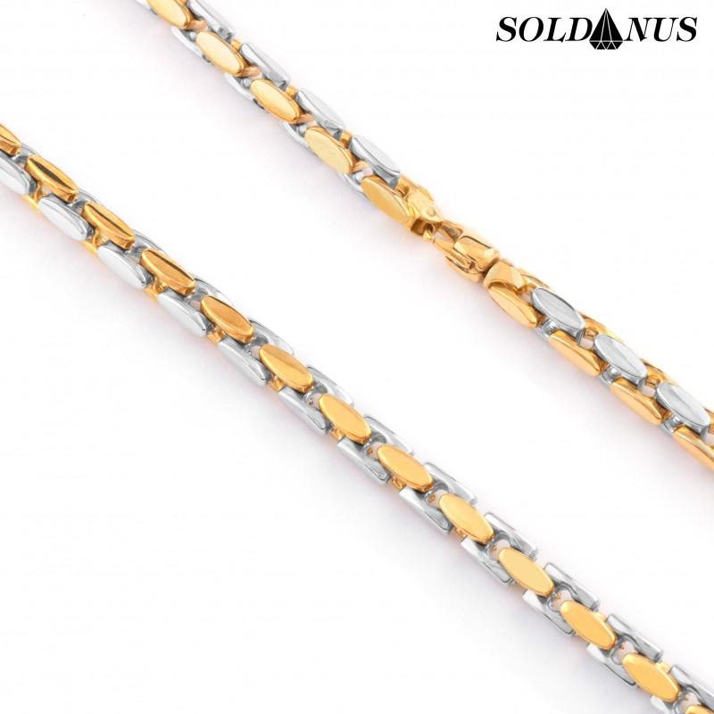 Zlatá retiazka dvojfarebná 55cm, Hrúbka: 5mm