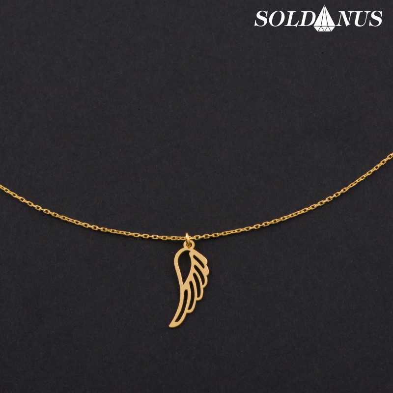 Zlatý prívesok anjelske krídlo s retiazkou 45cm