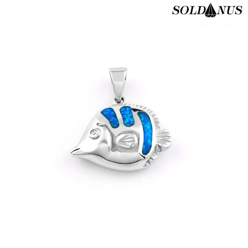 Strieborný prívesok ryba s opálom